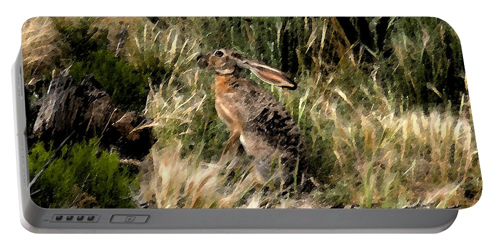 Jackrabbit Portable Battery Charger featuring the painting Jackrabbit by David Lee Thompson