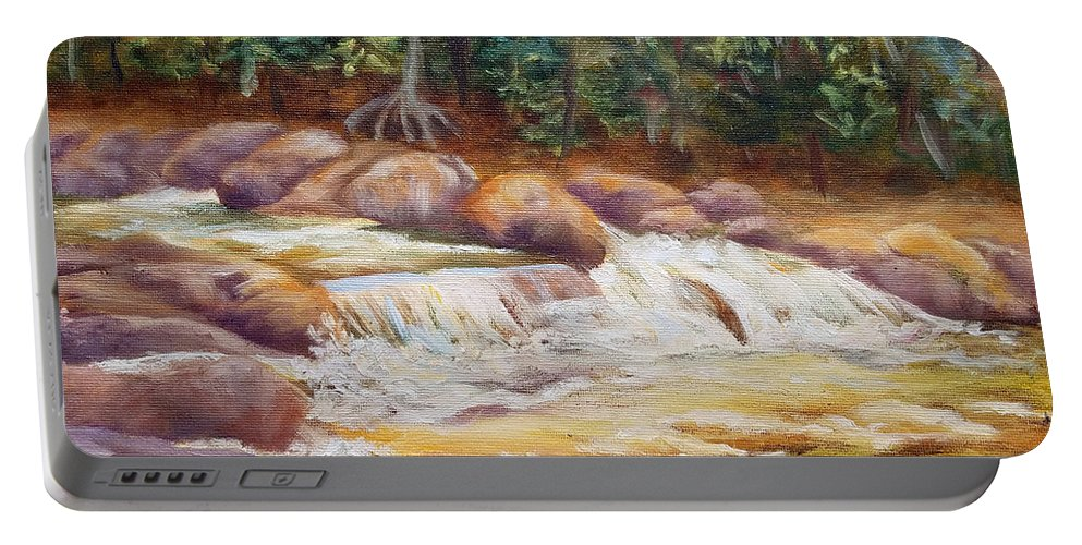 Jackson Falls Portable Battery Charger featuring the painting Jackson Falls Revisited by Sharon E Allen