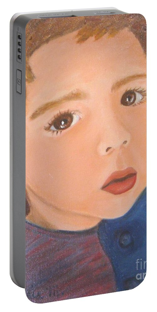 Portrait Portable Battery Charger featuring the painting Jackson by Laurie Morgan