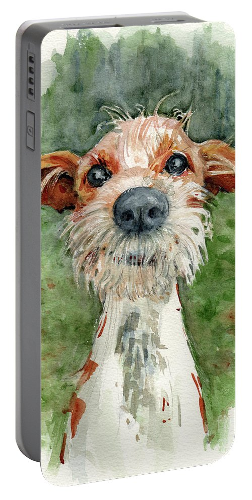 Dog Portable Battery Charger featuring the painting Jackson by Lora Serra