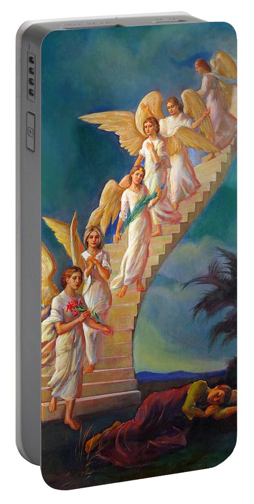 Jacob Portable Battery Charger featuring the painting Jacob's Ladder - Jacob's Dream by Svitozar Nenyuk