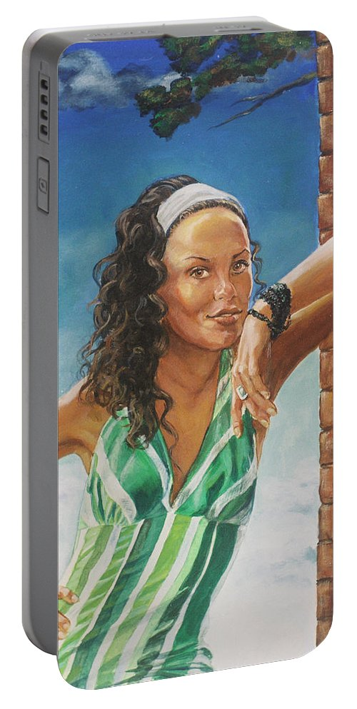 Jade Anderson Portable Battery Charger featuring the painting Jade Anderson by Bryan Bustard