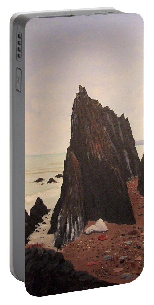 Jagged Rocks Portable Battery Charger featuring the painting Jagged Rocks by Tony Gunning