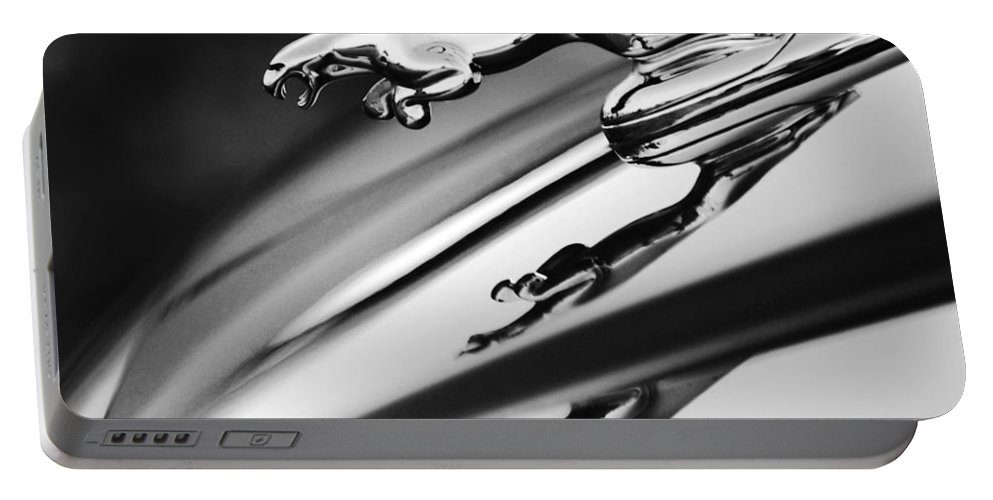 Black And White Portable Battery Charger featuring the photograph Jaguar Car Hood Ornament Black And White by Jill Reger