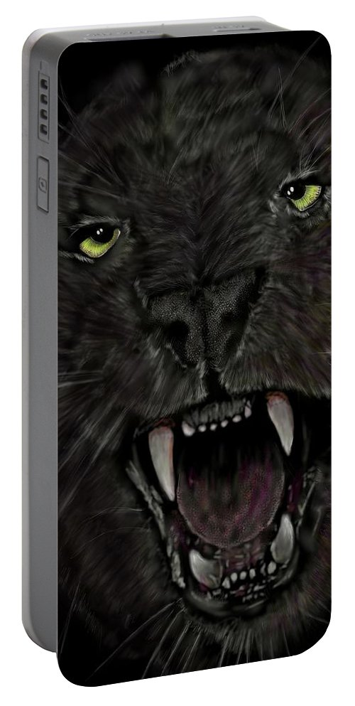 Leopard Portable Battery Charger featuring the digital art Jaguar by Darren Cannell