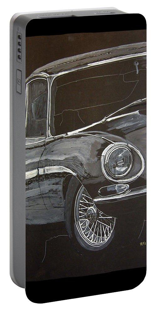 Jaguar Portable Battery Charger featuring the painting Jaguar E Type by Richard Le Page