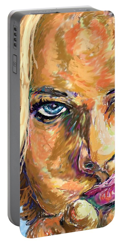 Jaime Pressly Portable Battery Charger featuring the painting Jaime Pressly by Travis Day