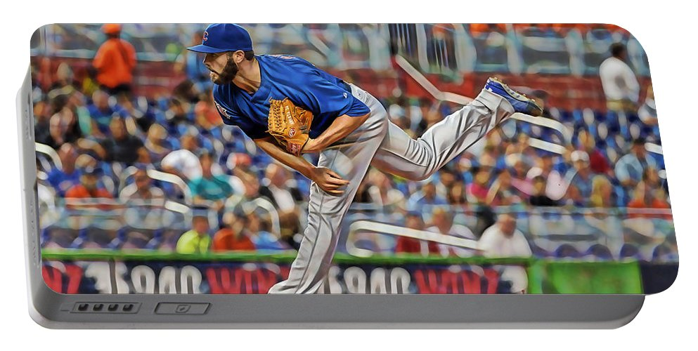 Jake Arrieta Portable Battery Charger featuring the mixed media Jake Arrieta Chicago Cubs Pitcher by Marvin Blaine
