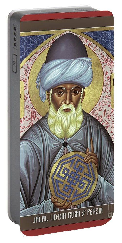 Jalal Ud-din Rumi Of Persia Portable Battery Charger featuring the painting Jalal Ud-din Rumi Of Persia - Rljur by Br Robert Lentz OFM