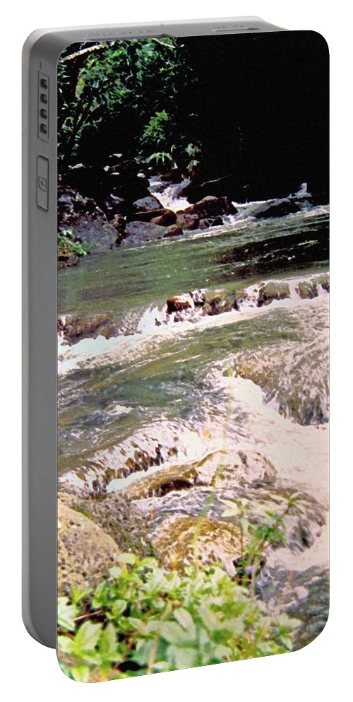 Jamaica Portable Battery Charger featuring the photograph Jamaica Rushing Water by Ian MacDonald
