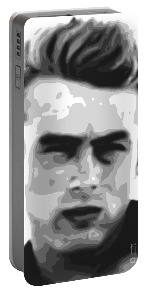 James Portable Battery Charger featuring the painting James Dean - Bw by Star Art