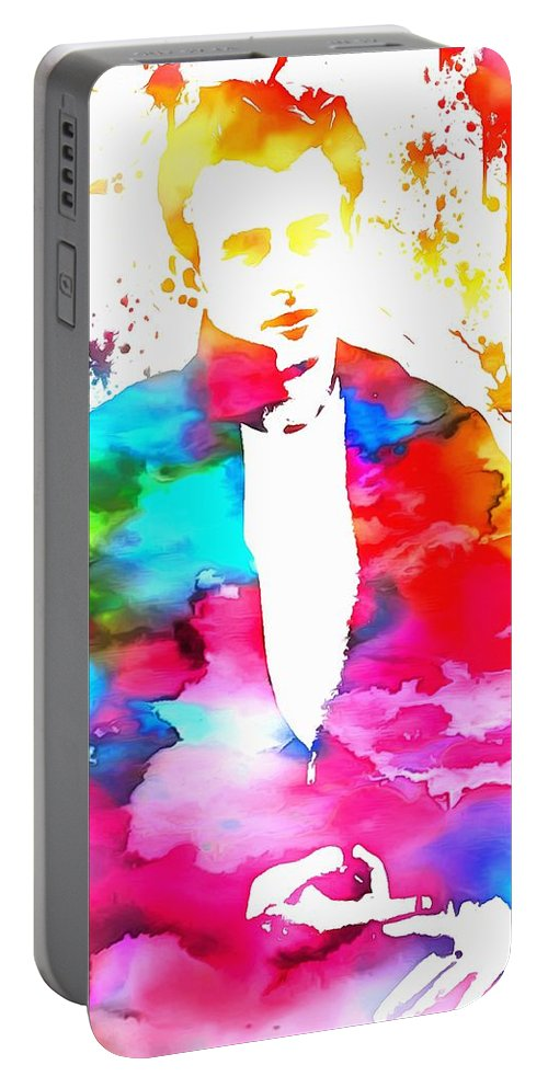 James Dean Paint Splatter Portable Battery Charger featuring the painting James Dean Watercolor by Dan Sproul
