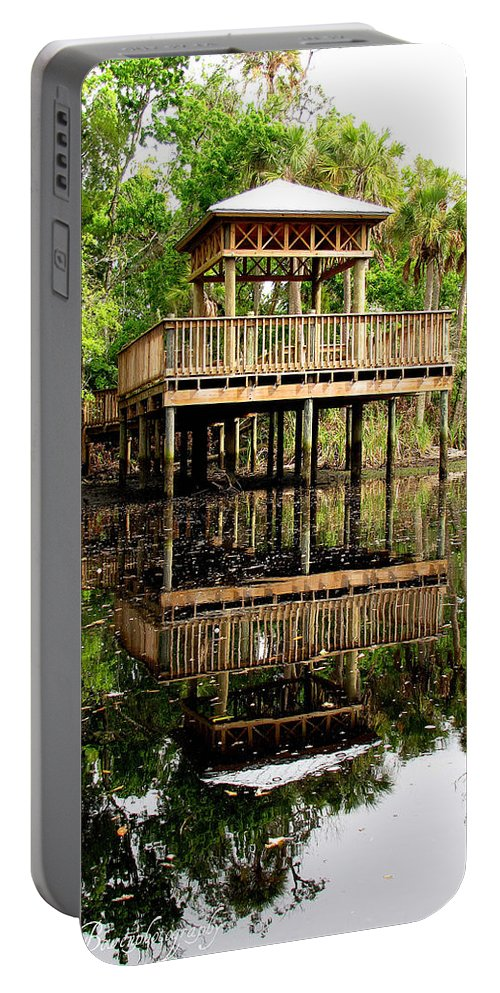 James E Grey Portable Battery Charger featuring the photograph James E Grey Fishing Pier by Barbara Bowen