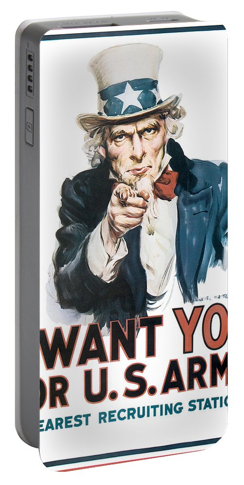 Uncle Sam Portable Battery Charger featuring the digital art I Want You For U.s. Army by Define Studio