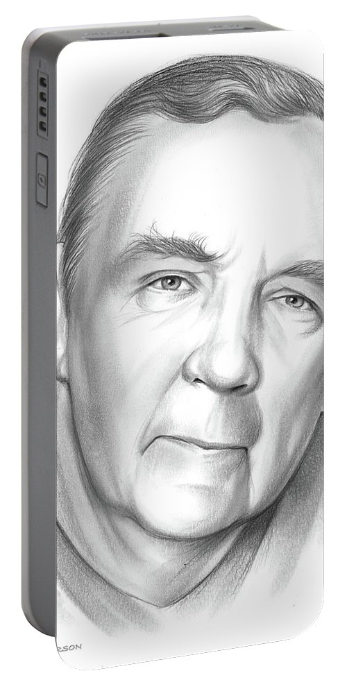 James Patterson Portable Battery Charger featuring the drawing James Patterson by Greg Joens