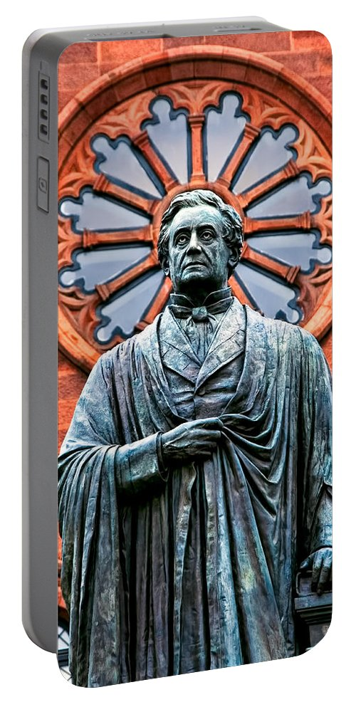 Statue Portable Battery Charger featuring the photograph James Smithson by Christopher Holmes