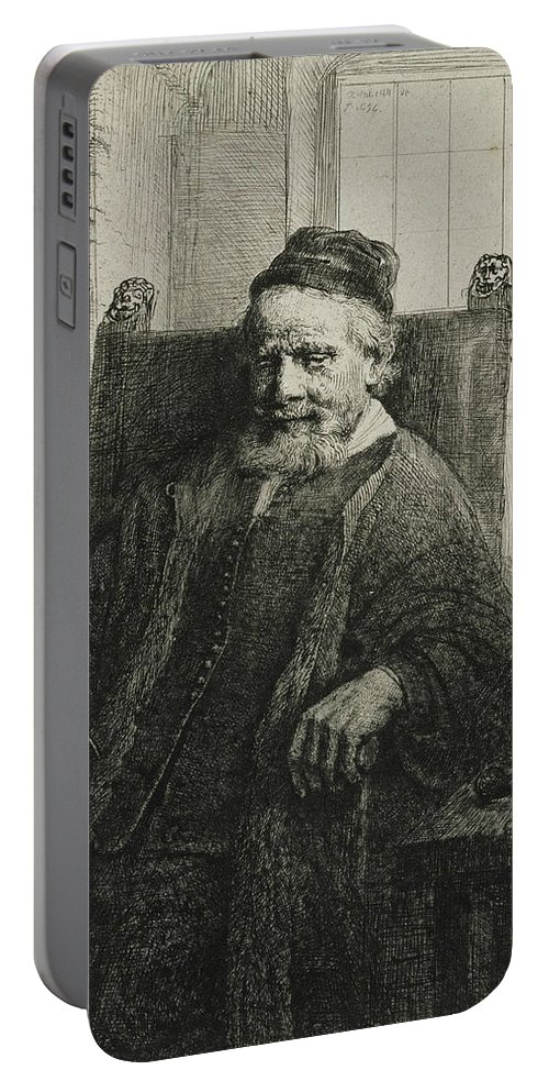 Rembrandt Portable Battery Charger featuring the relief Jan Lutma, The Elder, Goldsmith And Sculptor by Rembrandt