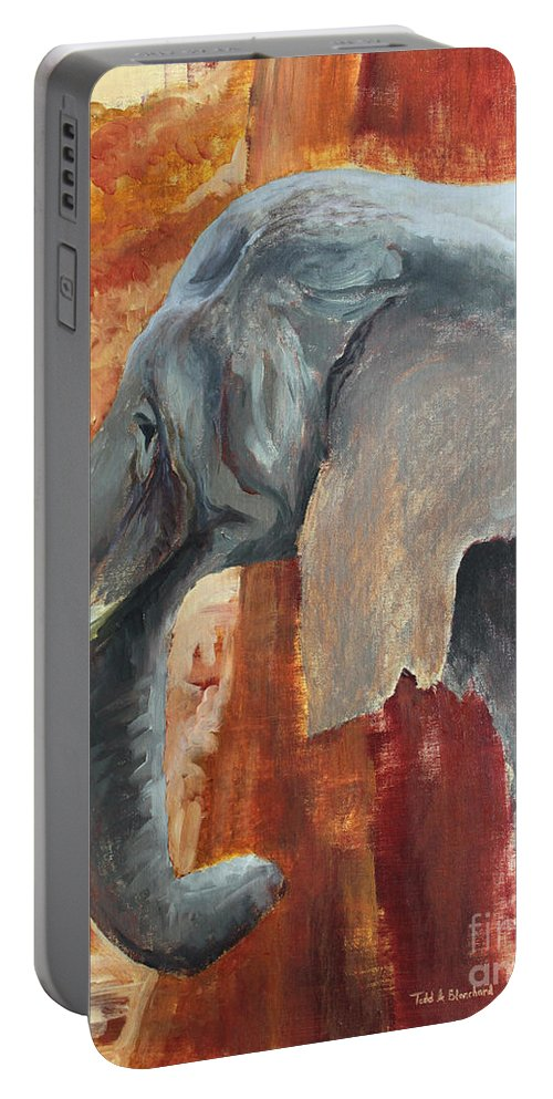 Animal Portable Battery Charger featuring the painting Jana by Todd Blanchard