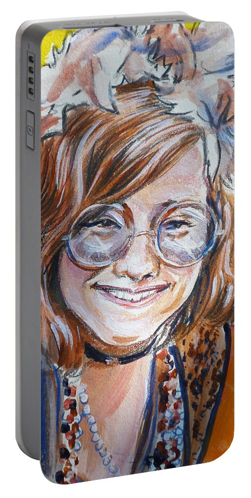 Janis Joplin Portable Battery Charger featuring the painting Janis Joplin by Bryan Bustard