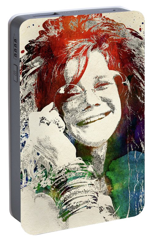 Janis Joplin Portable Battery Charger featuring the digital art Janis Joplin Portrait by Mihaela Pater