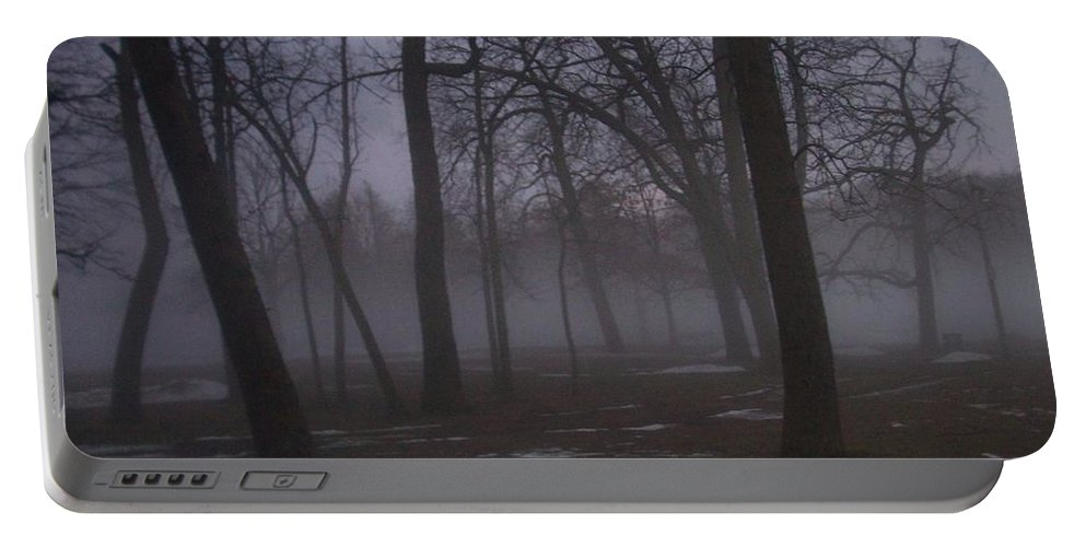 January Portable Battery Charger featuring the photograph January Fog 2 by Anita Burgermeister