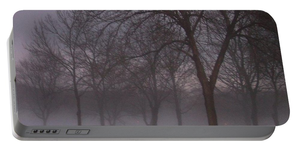 January Portable Battery Charger featuring the photograph January Fog 4 by Anita Burgermeister