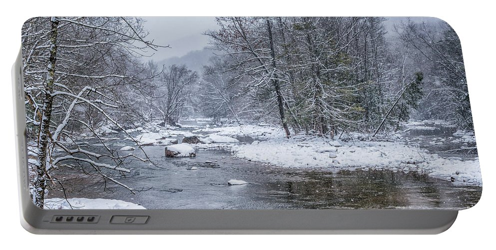 Williams River Portable Battery Charger featuring the photograph January Snow On The River by Thomas R Fletcher