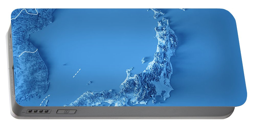 Japan Portable Battery Charger featuring the digital art Japan 3d Render Topographic Map Blue Border by Frank Ramspott