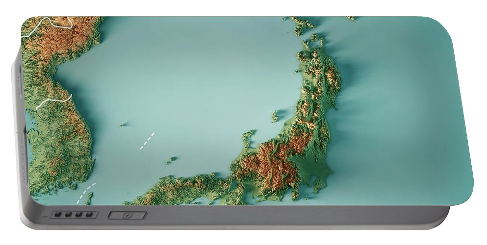 Japan Portable Battery Charger featuring the digital art Japan 3d Render Topographic Map Border by Frank Ramspott
