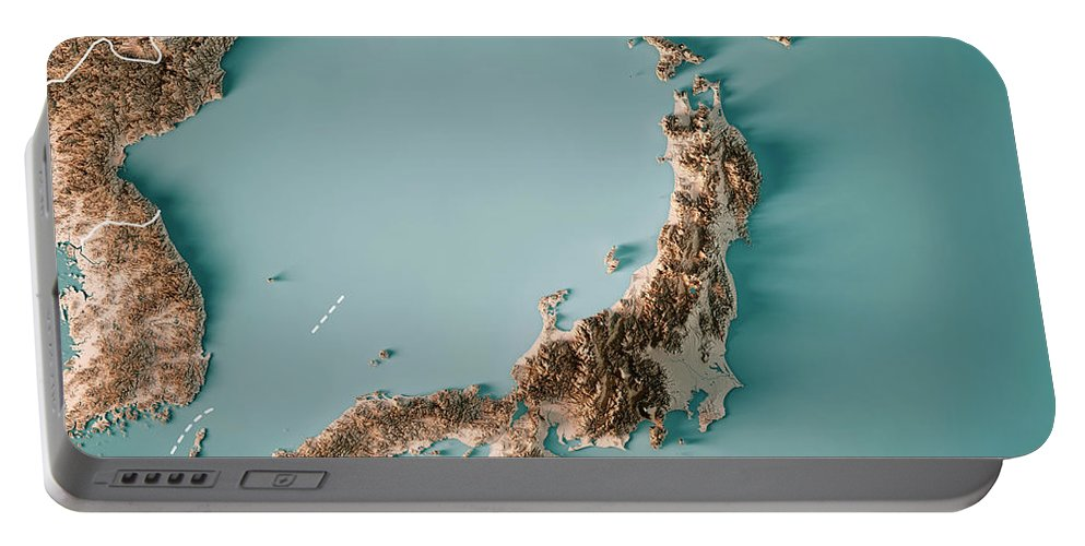 Japan Portable Battery Charger featuring the digital art Japan 3d Render Topographic Map Neutral Border by Frank Ramspott