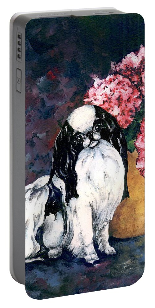 Japanese Chin Portable Battery Charger featuring the painting Japanese Chin And Hydrangeas by Kathleen Sepulveda