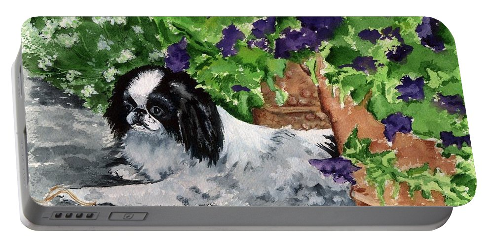 Japanese Chin Portable Battery Charger featuring the painting Japanese Chin Puppy And Petunias by Kathleen Sepulveda