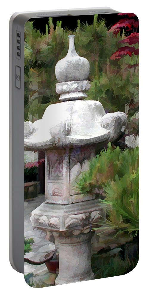 Japanese Garden Portable Battery Charger featuring the painting Japanese Garden Stone Lantern Statue by Elaine Plesser
