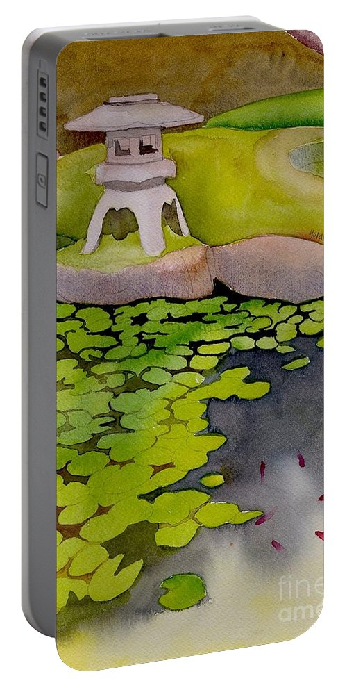 Japanese Portable Battery Charger featuring the painting Japanese Garden by Yolanda Koh