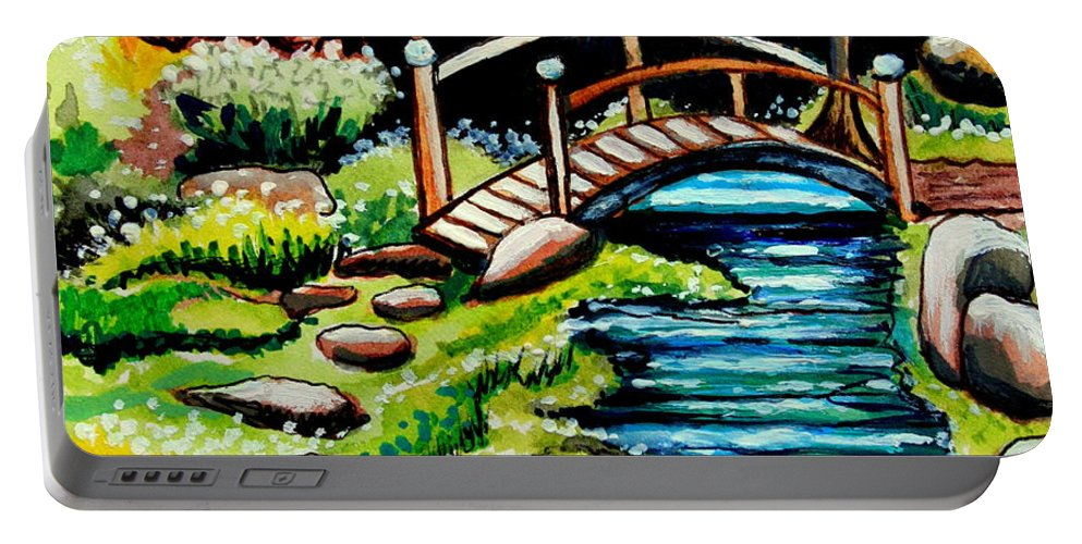 Landcape Portable Battery Charger featuring the painting Japanese Tea Gardens by Elizabeth Robinette Tyndall