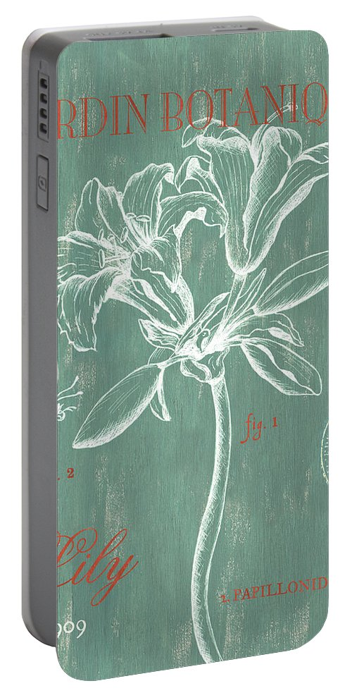 Floral Portable Battery Charger featuring the drawing Jardin Botanique Aqua by Debbie DeWitt