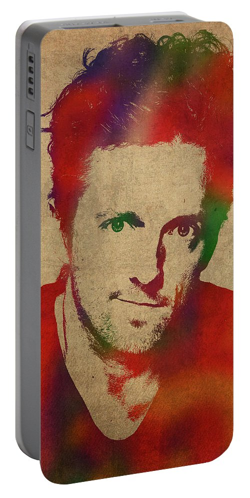 Jason Mraz Portable Battery Charger featuring the mixed media Jason Mraz Watercolor Portrait by Design Turnpike