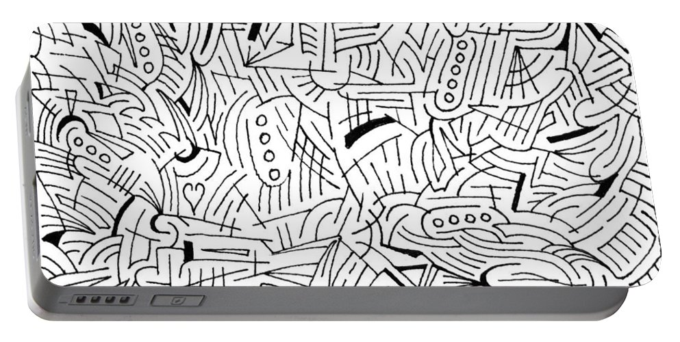 Mazes Portable Battery Charger featuring the drawing Jason by Steven Natanson