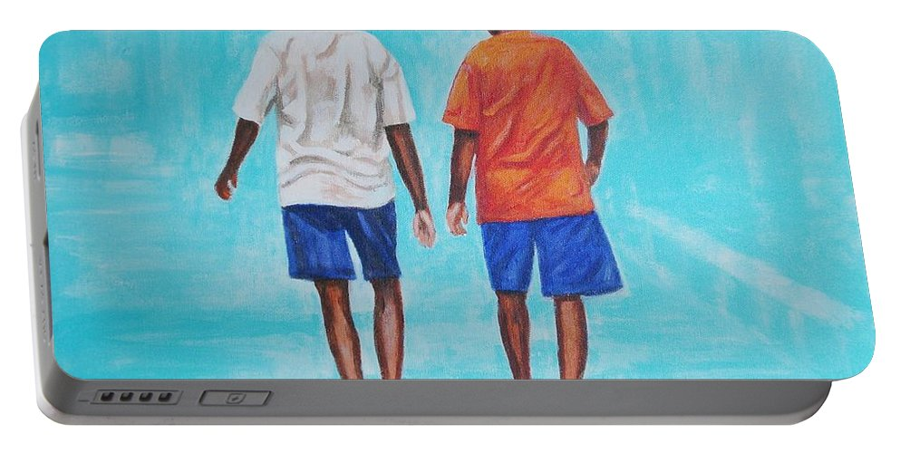 Portable Battery Charger featuring the painting Jay Walkers by Usha Shantharam
