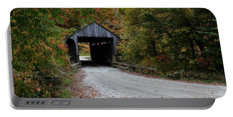 Jaynes Covered Bridge Portable Battery Charger featuring the photograph Jaynes Covered Bridge by Carolyn Mickulas