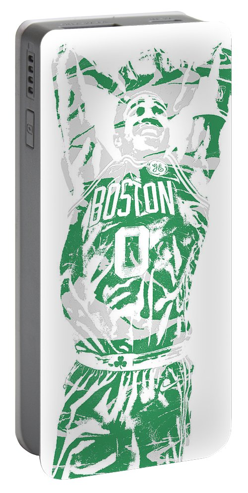Jayson Tatum Portable Battery Charger featuring the mixed media Jayson Tatum Boston Celtics Pixel Art 12 by Joe Hamilton