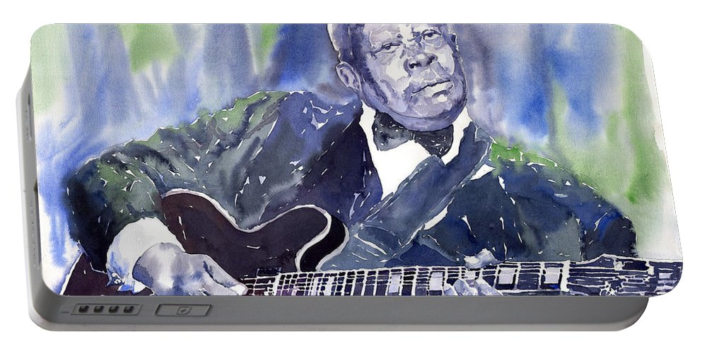Jazz Bbking Music Watercolor Watercolour Guitarist Portret Portable Battery Charger featuring the painting Jazz B B King 01 by Yuriy Shevchuk