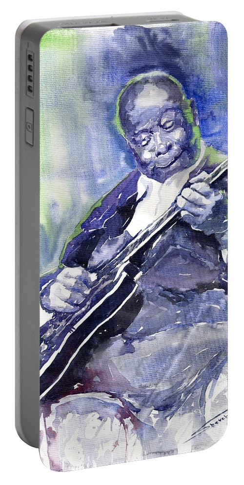 Jazz Portable Battery Charger featuring the painting Jazz B B King 02 by Yuriy Shevchuk