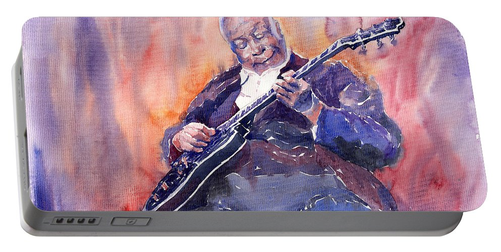 Jazz Portable Battery Charger featuring the painting Jazz B.b. King 03 by Yuriy Shevchuk