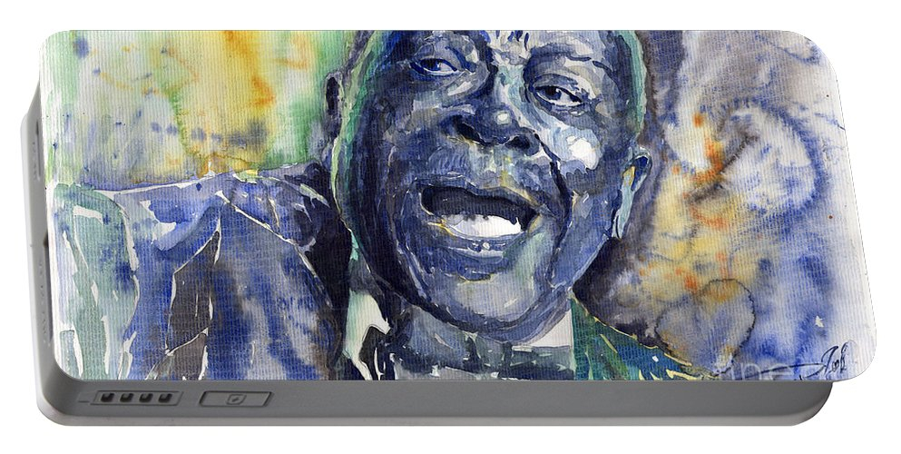 Jazz Portable Battery Charger featuring the painting Jazz B.B.King 04 Blue by Yuriy Shevchuk