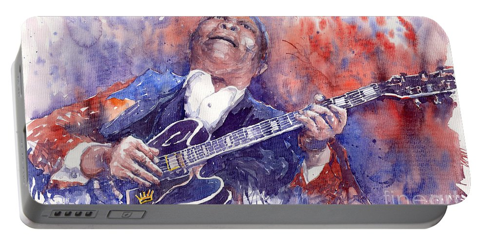 Jazz Portable Battery Charger featuring the painting Jazz B B King 05 Red by Yuriy Shevchuk