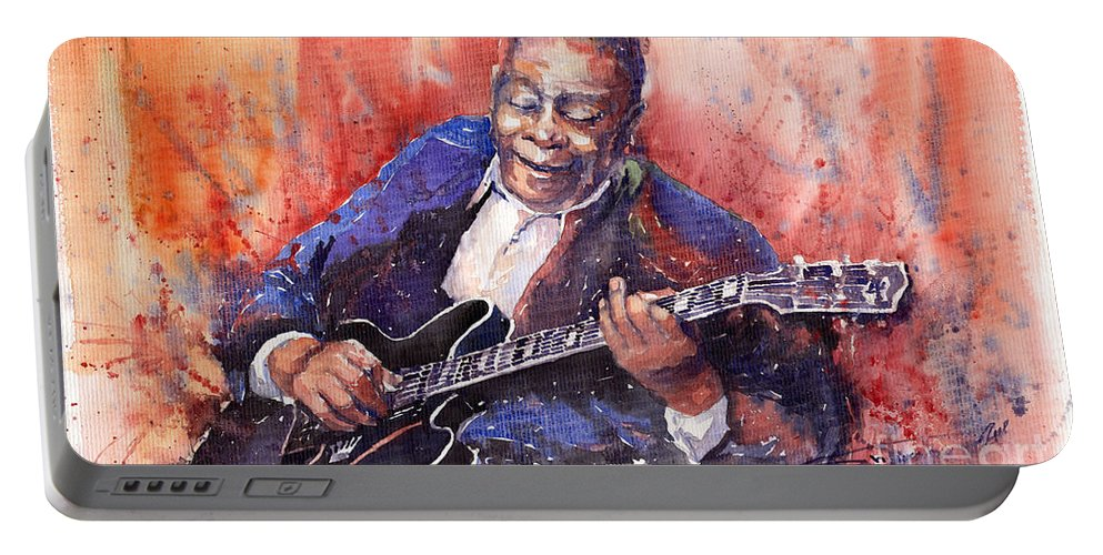 Jazz Portable Battery Charger featuring the painting Jazz B B King 06 A by Yuriy Shevchuk