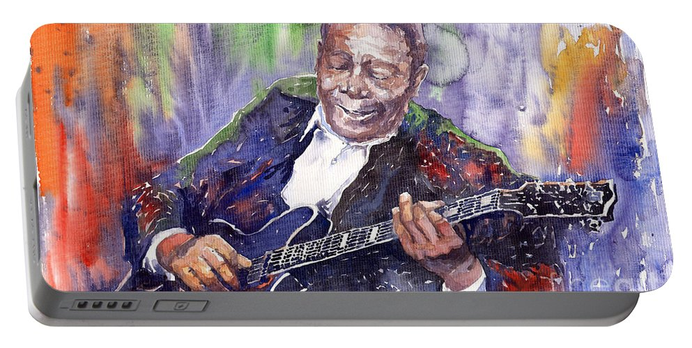 Jazz Portable Battery Charger featuring the painting Jazz B B King 06 by Yuriy Shevchuk