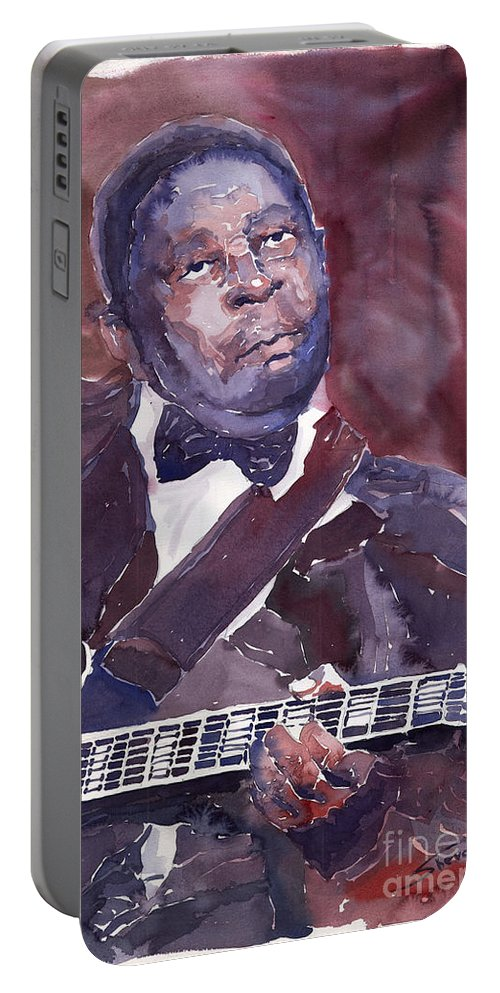 Jazz Bbking Guitarist Blues Portret Figurative Music Portable Battery Charger featuring the painting Jazz B B King by Yuriy Shevchuk