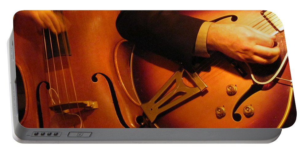 Jazz Portable Battery Charger featuring the photograph Jazz Bass And Guitar by Anita Burgermeister